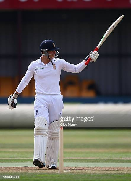 Rob Jones of England celebrates his half century during day two of the second test match between England U19's and South Africa U19's at The County...