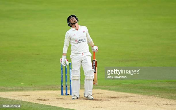 Rob Jones of Lancashire reacts during Day 4 of the Bob Willis Trophy Final between Warwickshire and Lancashire at Lord's Cricket Ground on October...