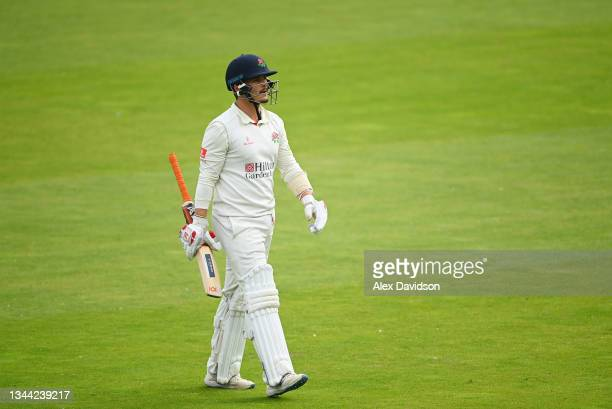 Rob Jones of Lancashire walks off after being dismissed during Day 4 of the Bob Willis Trophy Final between Warwickshire and Lancashire at Lord's...