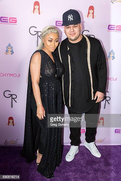 Rob Kardashian and Blac Chyna arrive at her Blac Chyna Birthday Celebration And Unveiling Of Her Chymoji Emoji Collection at the Hard Rock Cafe on...