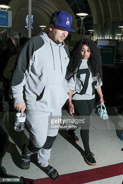 Rob Kardashian and Blac Chyna is seen at LAX on March 14 2016 in Los Angeles California