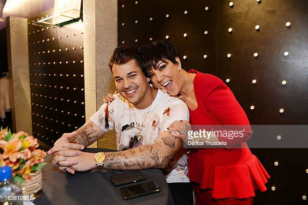 Rob Kardashian and Kris Jenner during Rob Kardashian's Arthur George Street sock line launch at Kardashian Khaos at The Mirage Hotel Casino on March...
