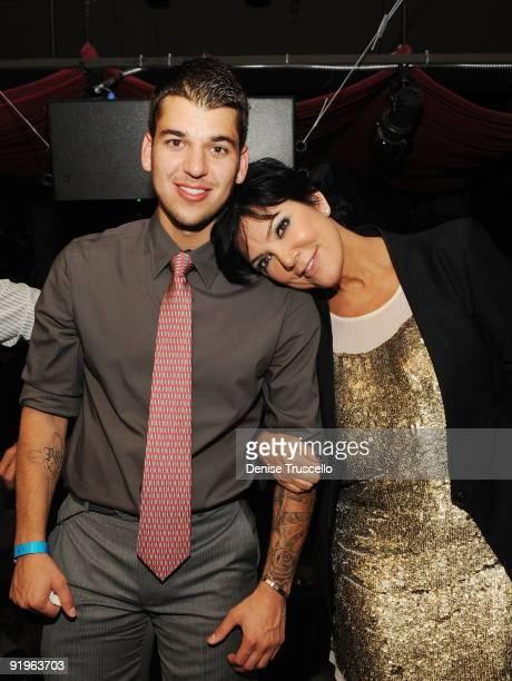Rob Kardashian and Kris Kardashian attends TAO Nightclub at the Venetian on October 16 2009 in Las Vegas Nevada