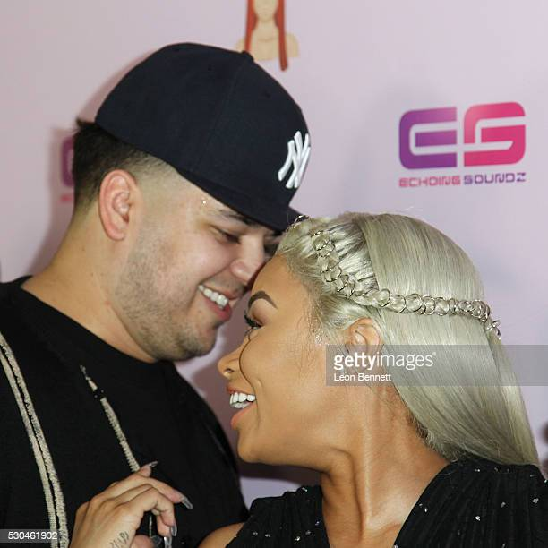 Rob Kardashian and model Blac Chyna attends Birthday Celebration And Unveiling Of Her 'Chymoji' Emoji Collection at Hard Rock Cafe Hollywood CA on...