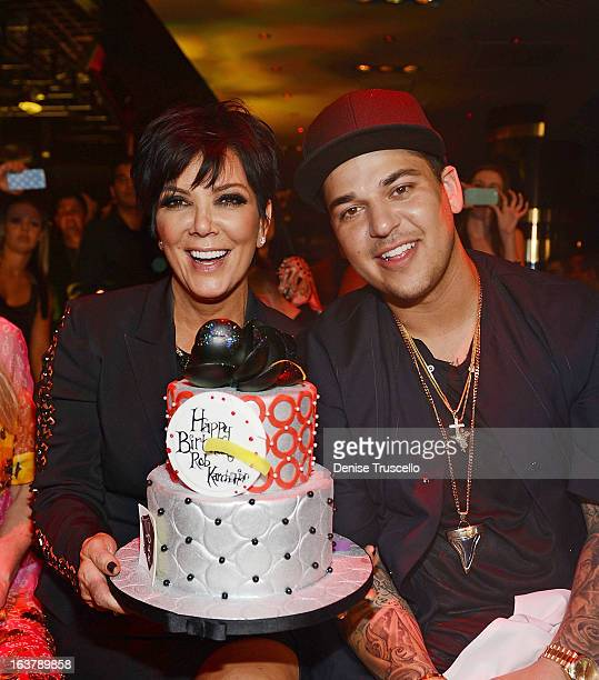 Rob Kardashian celebrates his 26th birthday with his mom Kris Jenner at 1 OAK Nightclub at The Mirage Hotel Casino on March 15 2013 in Las Vegas...