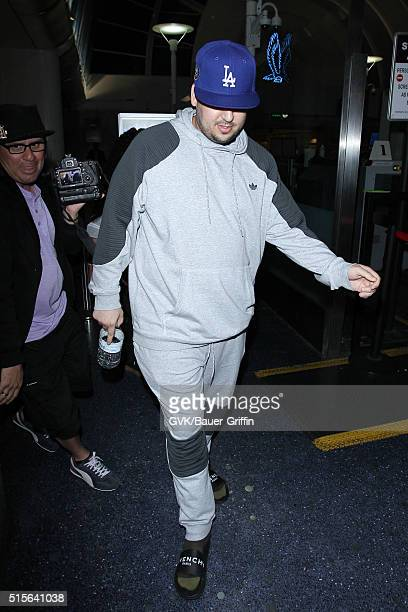 Rob Kardashian is seen at LAX on March 14 2016 in Los Angeles California