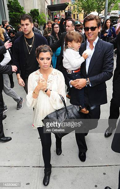 Rob Kardashian Kourtney Kardashian Scott Disick and Mason Disick are seen on the streets of Manhattan on April 23 2012 in New York City