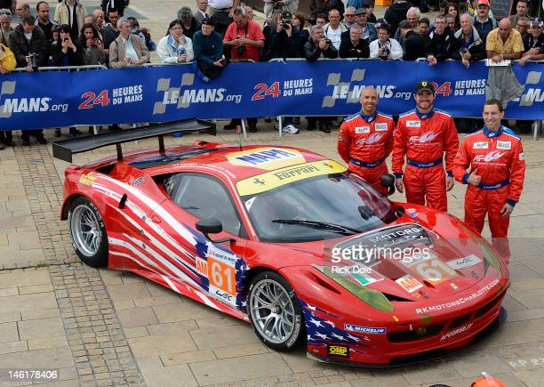 Rob Kauffman of the United States Brian Vicker so the United States and Rui Aguas of Portugal drivers of the AF CorseWaltrip Racing Ferrari 458...