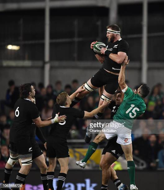Rob Kearney of Ireland and Kieran Read of New Zealand during the International Friendly rugby match between Ireland and New Zealand on November 17...