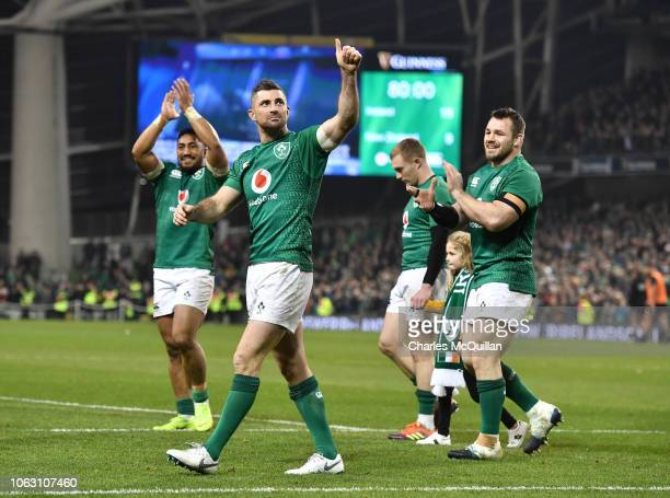 Rob Kearney of Ireland celebrates after the International Friendly rugby match between Ireland and New Zealand on November 17 2018 in Dublin Ireland