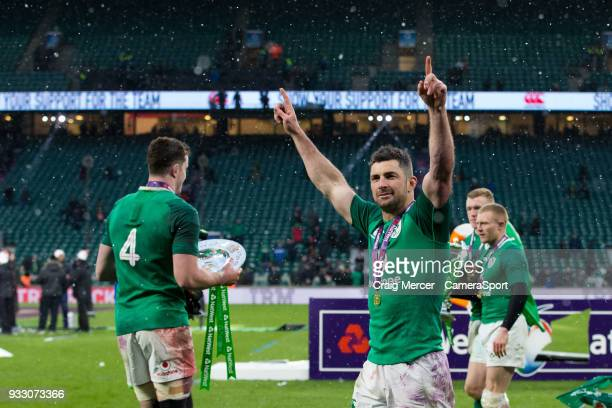 Rob Kearney of Ireland celebrates after the NatWest Six Nations Championship match between England and Ireland at Twickenham Stadium on March 17,...