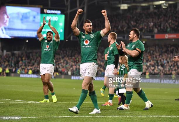 Rob Kearney of Ireland celebrates with team mates after the International Friendly rugby match between Ireland and New Zealand on November 17 2018 in...