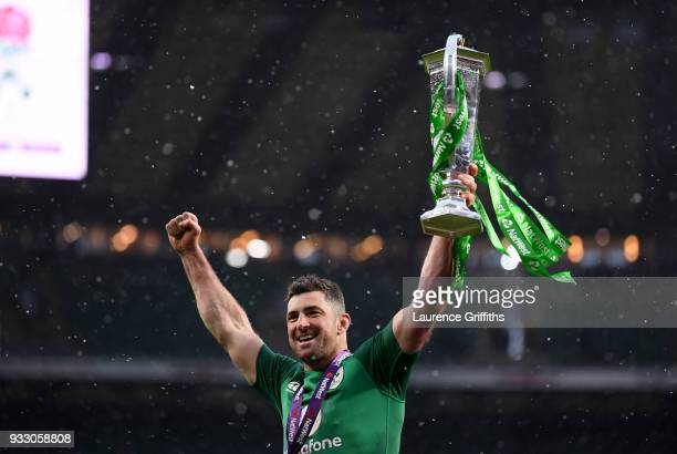 Rob Kearney of Ireland celebrates with The NatWest Six Nations trophy after the NatWest Six Nations match between England and Ireland at Twickenham...