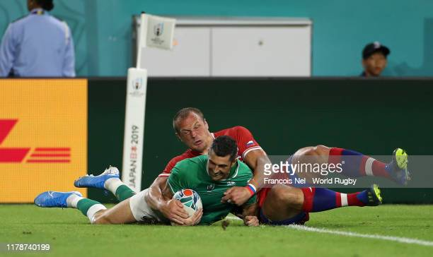 Rob Kearney of Ireland scores his team's first try during the Rugby World Cup 2019 Group A game between Ireland and Russia at Kobe Misaki Stadium on...