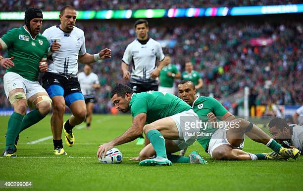 Rob Kearney of Ireland scores their fifth try during the 2015 Rugby World Cup Pool D match between Ireland and Romania at Wembley Stadium on...