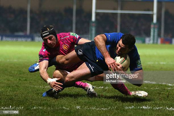Rob Kearney of Leinster scores the second try as Matt Jess of Exeter Chiefs fails to tackle during the Heineken Cup Pool Five match between Exeter...