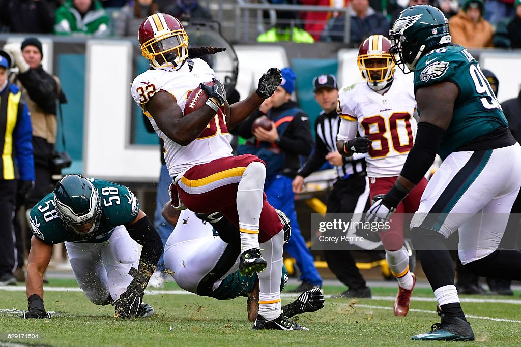Rob Kelley #32 of the Washington Redskins spins for yards in the third quarter against the Philadelphia Eagles at Lincoln Financial Field on December 11, 2016 in Philadelphia, Pennsylvania. The Redskins won 27-22.