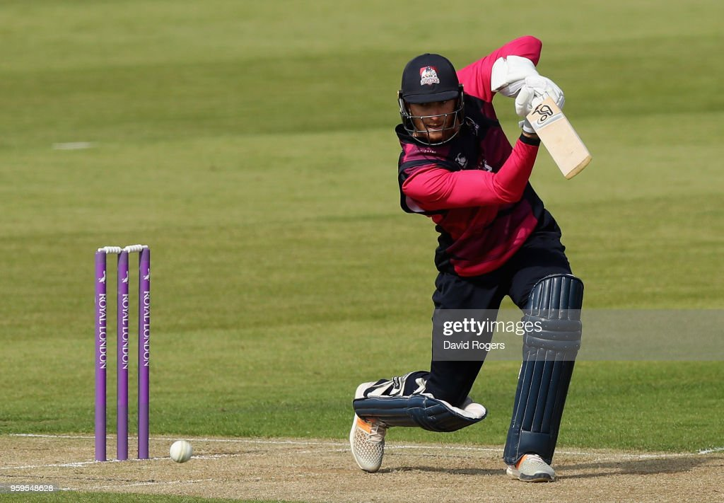 Rob Keogh of Northamptonshire drives during the Royal London One-Day Cup match between Northamptonshire and Leicestershire at The County Ground on May 17, 2018 in Northampton, England.