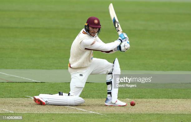 Rob Keogh of Northamptonshire drives the ball during the Specsavers County Championship Division Two match between Northamptonshire and Middlesex at...
