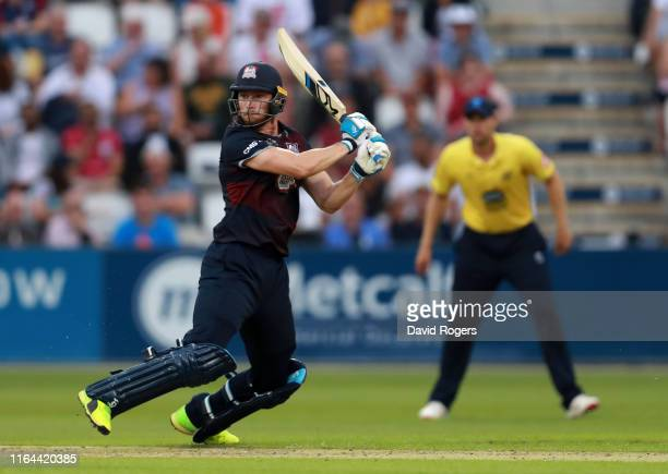 Rob Keogh of Northamptonshire drives the ball during the Vitality Blast match between Northamptonshire Steelbacks and Birmingham Bears at The County...
