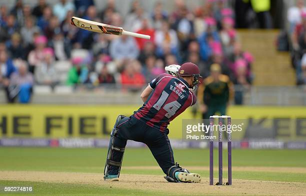 Rob Keogh of Northamptonshire loses his bat during the Natwest T20 Blast match between Northamptonshire and Nottinghamshire at Edgbaston cricket...