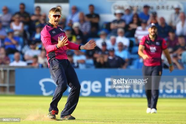 Rob Keogh of Northamptonshire Steelbacks celebrates the wicket of Cheteshwar Pujaraduring the Royal London OneDay Cup match between Yorkshire...