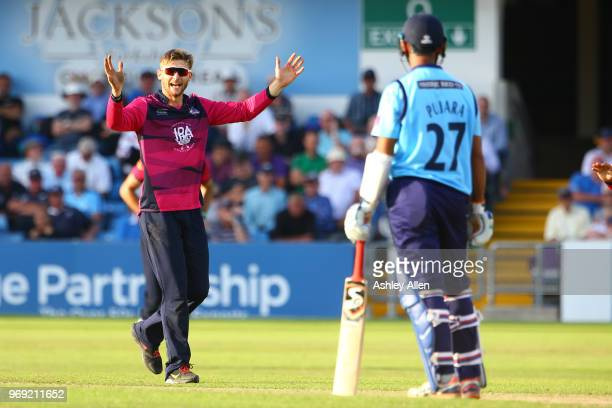 Rob Keogh of Northamptonshire Steelbacks celebrates the wicket of Cheteshwar Pujara of Yorkshire Vikings during the Royal London OneDay Cup match...