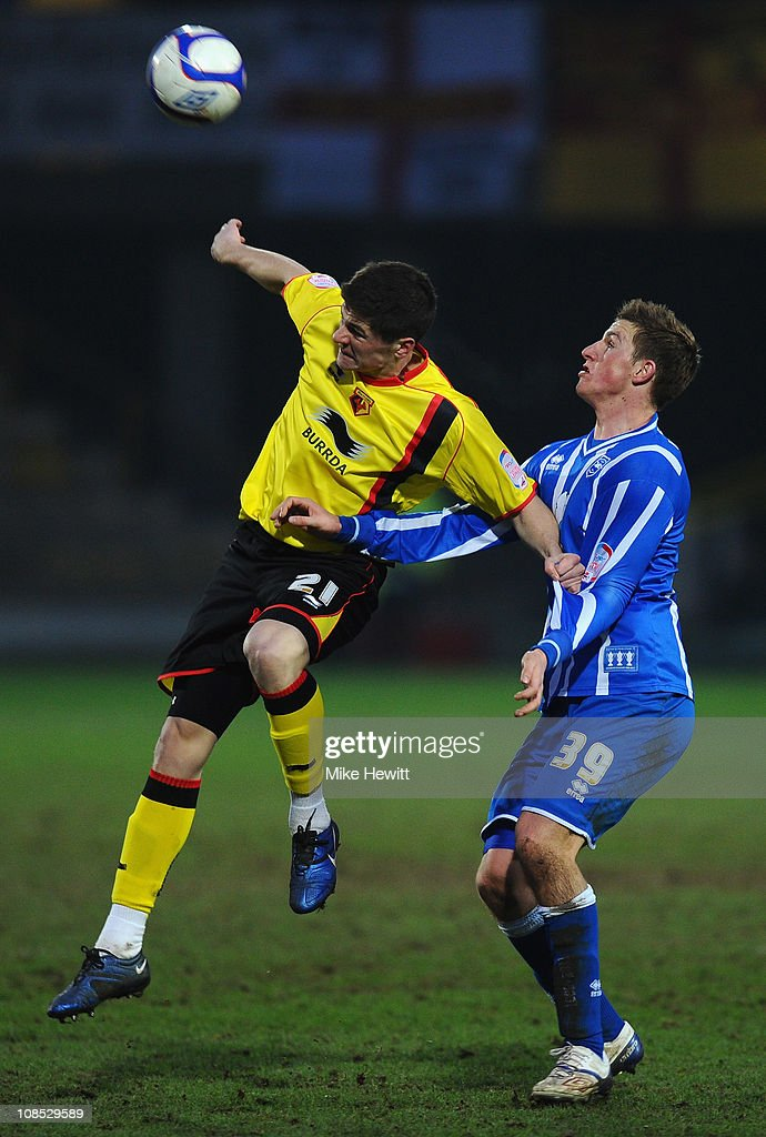 Rob Kiernan of Watford is challenged by Chris Wood of Brighton during the FA Cup Sponsored by E.ON 4th Round match between Watford and Brighton & Hove Albion at Vicarage Road on January 29, 2011 in Watford, England.
