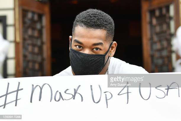 """Rob """"Krucible"""" Marshall participates in a promask wearing popup fashion show at Yamashiro Hollywood during the COVID19 pandemic on July 2 2020 in Los..."""