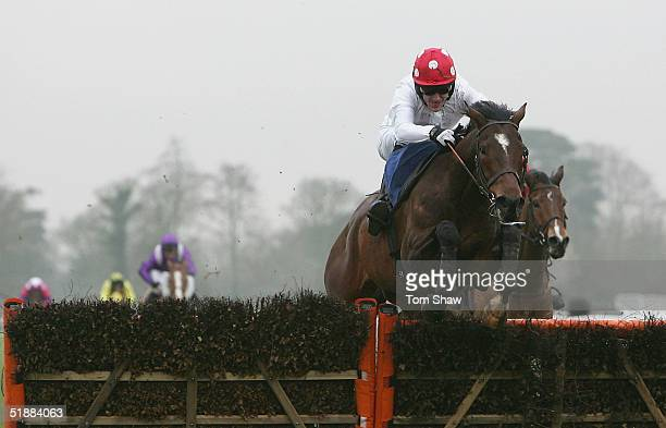 Rob Leach ridden by Tony McCoy jumps the final fence to win the Bet@Bluesqcom Selling Hurdle Race at Fontwell Park Racecourse on December 21 2004 in...