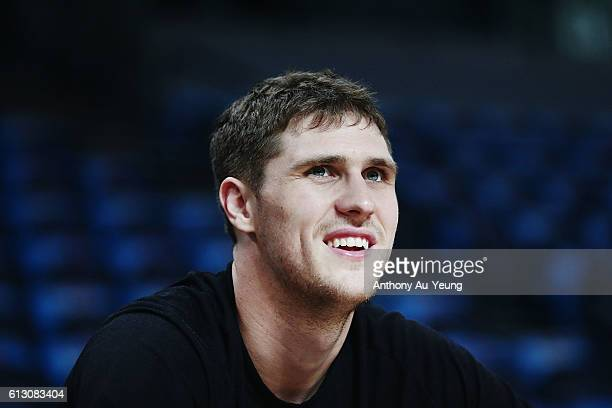 Rob Loe of New Zealand looks on prior to the round one NBL match between the New Zealand Breakers and Melbourne United at Vector Arena on October 7...