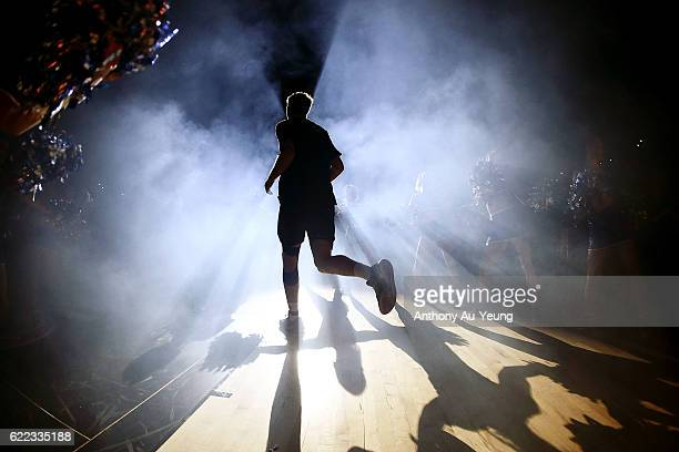 Rob Loe of the Breakers runs out during the players introduction during the round six NBL match between the New Zealand Breakers and the Cairns...
