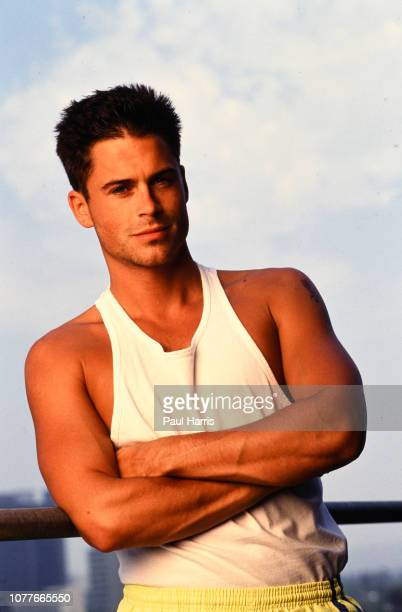 Rob Lowe, actor, photographed on the balcony of his publicist offices in Beverly Hills February 3, 1990 Beverly Hills, Los Angeles, California