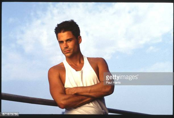 Rob Lowe actor photographed on the balcony of his publicist'u2019s offices in Beverly Hills February 3 1990 Beverly Hills Los Angeles California