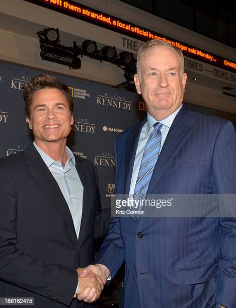 Rob Lowe and Bill O'Reilly attend the National Geographic Channel's 'Killing Kennedy' World Premiere at The Newseum on October 28 2013 in Washington...