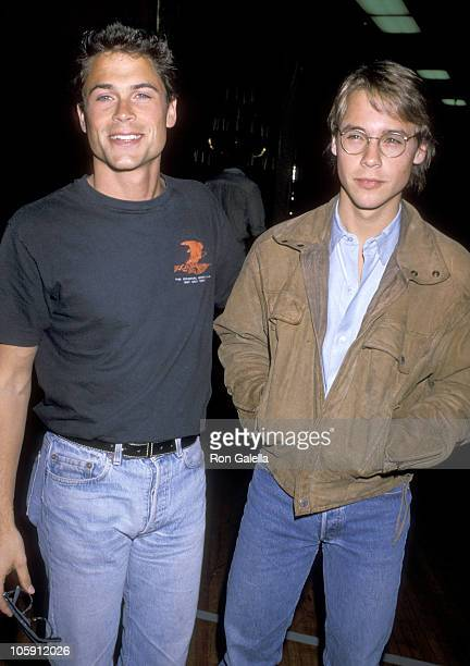 Rob Lowe and Chad Lowe during Allan Carr's PreOscar Cocktail Party at Shrine Auditorium in Los Angeles California United States