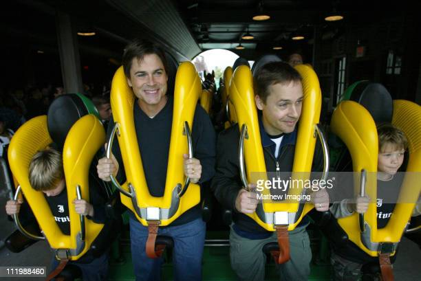 Rob Lowe and Chad Lowe during Rob and Chad Lowe ride Riddler at Six Flags Magic Mountain at Six Flags Magic Mountain in Valencia CA United States