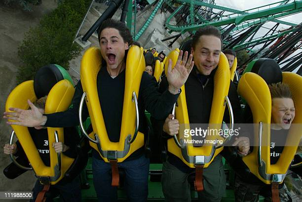 Rob Lowe and Chad Lowe during Rob and Chad Lowe ride 'Riddler' at Six Flags Magic Mountain at Six Flags Magic Mountain in Valencia CA United States