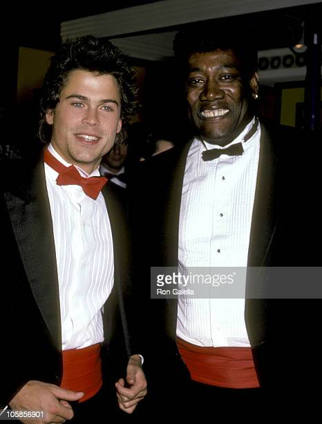 Rob Lowe and Clarence Clemons during 'Rocky IV' Los Angeles Premiere at Westwood Village Theater in Los Angeles California United States