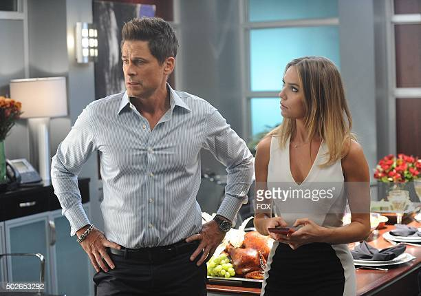 Rob Lowe and guest star Arielle Kebbel in the 'Giving Thanks Getting Justice' episode of THE GRINDER airing Tuesday Nov 24 on FOX