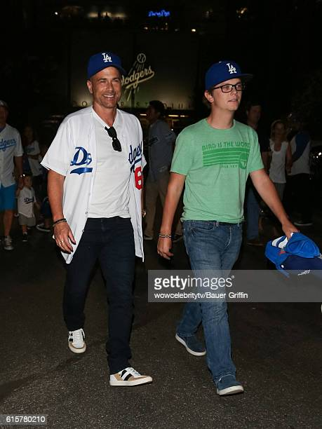 Rob Lowe and his son Matthew Edward Lowe are seen on October 19 2016 in Los Angeles California