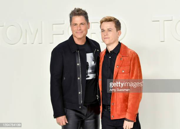 Rob Lowe and John Owen Lowe attend the Tom Ford AW20 Show at Milk Studios on February 07 2020 in Hollywood California