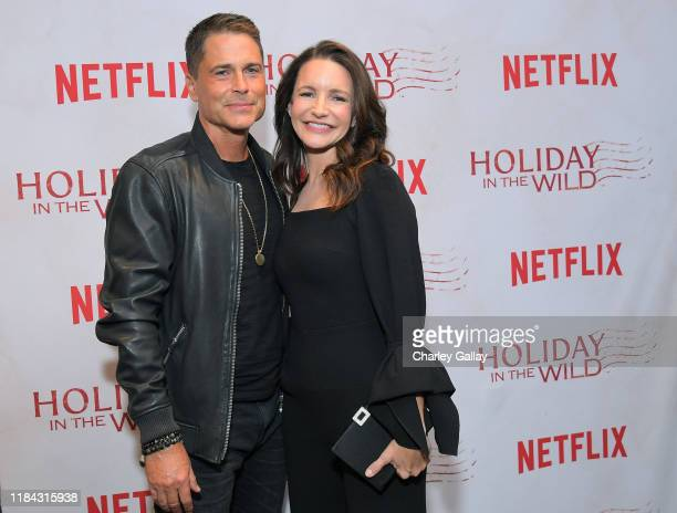 Rob Lowe and Kristin Davis attend Netflix's HOLIDAY IN THE WILD Cast Crew Screening at The London Hotel on October 29 2019 in West Hollywood...
