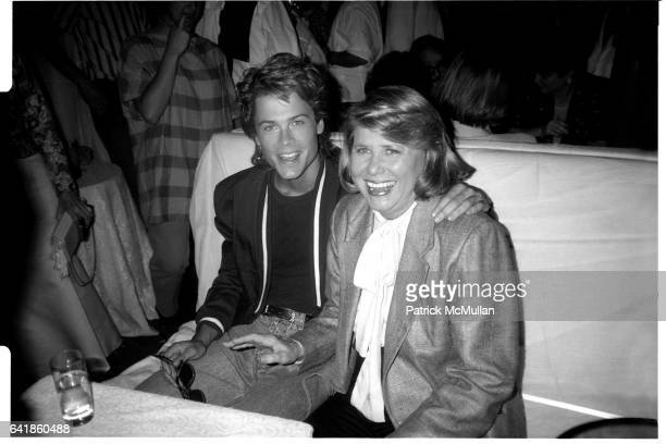 Rob Lowe and Liz Smith at the Palladium for the St Elmo's Fire party June 12 1985