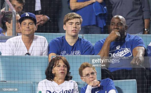 Rob Lowe and Magic Johnson attend The Los Angeles Dodgers Game World Series Boston Red Sox v Los Angeles Dodgers Game Three at Dodger Stadium on...