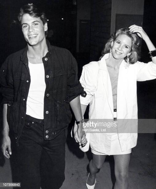 Rob Lowe and Melissa Gilbert during Rob Lowe and Melissa Gilbert Sighting at Anaheim Stadium in Anaheim California September 9 1983 at Anaheim...