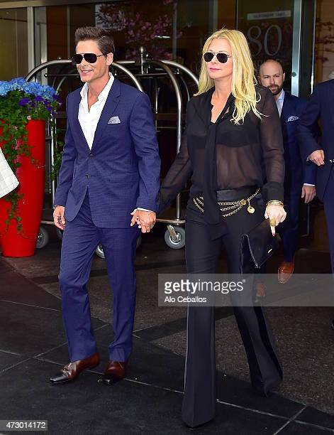 Rob Lowe and Sheryl Berkoff are seen in the upper west side on May 11 2015 in New York City