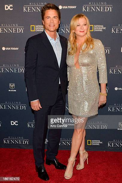 Rob Lowe and Sheryl Berkoff attend the National Geographic Channel's Killing Kennedy World Premiere at The Newseum on October 28 2013 in Washington DC