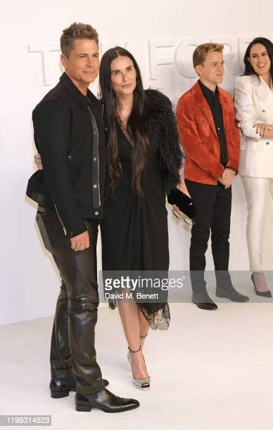 Rob Lowe Demi Moore John Owen Lowe and Rumer Willis attend the Tom Ford AW20 show at Milk Studios on February 7 2020 in Hollywood California