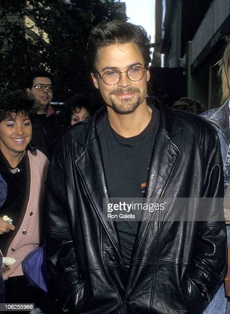 Rob Lowe during Rob Lowe Visits 'The Howard Stern Show' October 9 1987 at KROC Studios in New York City New York United States
